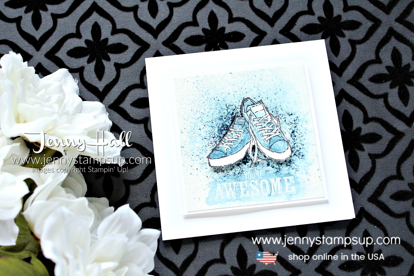 National Craft Month Blog Hop card created by Jenny Hall at www.jennyhalldesign.com for #cardmaking #bloghop #youtuber #craftyyoutuber #videotutorial #brusho #watercolor #grungetechnique #blueshoes #jennyhalldesign #jennyhall #jennystampsup #jennyhallstampinup #crafts #paperembossing #watercolorpainting #lifestyle #handmadecard #greetingcard