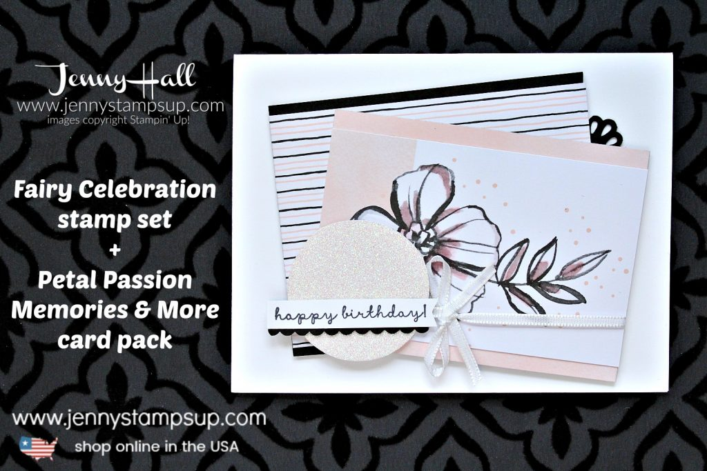 Petal Passion Memories & More card project created by Jenny Hall at www.jennyhalldesign.com for #cardmaking #stamping #stampinup #fairycelebration #petalpassion #petalpassionmemoriesandmore #birthdaycard #jennyhall #jennyhalldesign #jennyhallstampinup #jennystampsup #rubberstamp #papercrafts