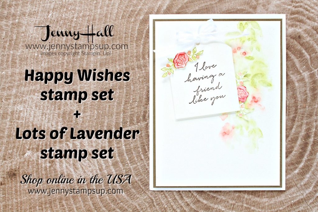 Lots of Lavender card created by Jenny Hall at www.jennyhalldesign.com for #jennyhalldesign #jennyhall #jennyhallstampinup #jennystampsup #lotsoflavender #happywishesstampset #messywatercolor #globaldesignproject #friendship #cardmaking #cardmaker #handmadecard #fussycutting #creativelife #watercolor #crafts #diy #mothersday