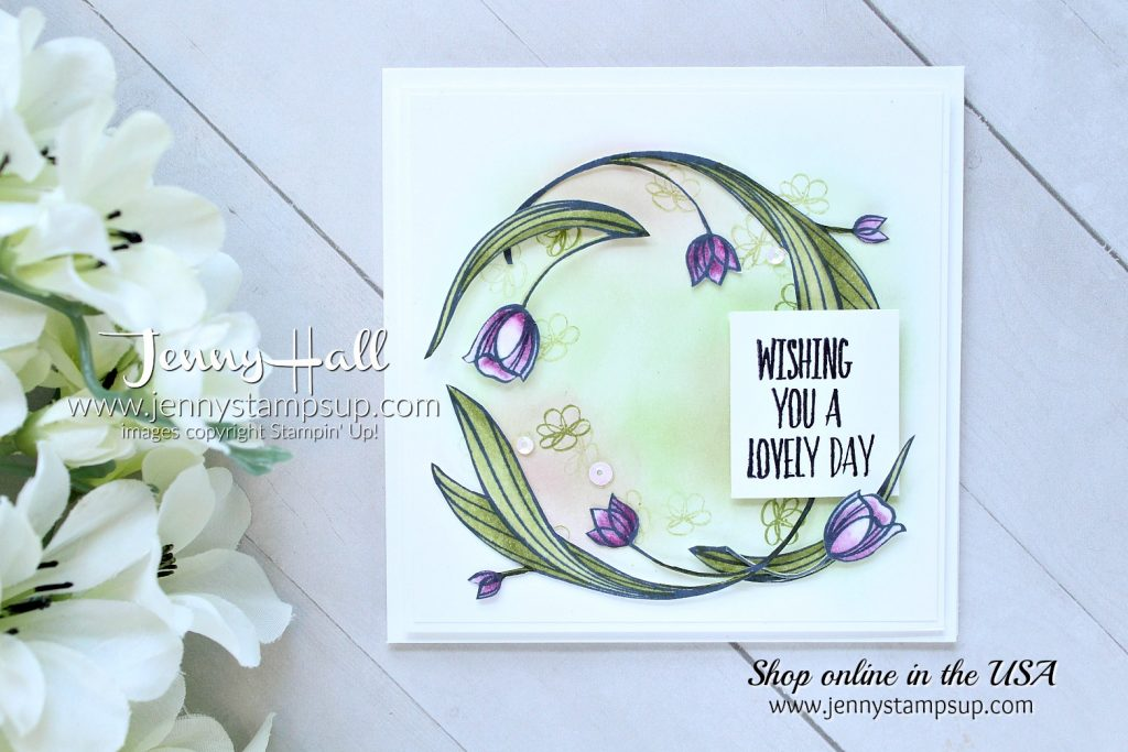 Lovely Wishes dreamy card created by Jenny Hall at www.jennyhalldesign.com for #lovelywishes #fussycut #stampinblends #inkblending #squarecard #lovelyday #jennyhall #jennyhalldesign #jennyhallstampinup #jennystampsup #cardmaking #lifestyle #crafts #cardmaker #youtuber #alcoholmarkers #daydream