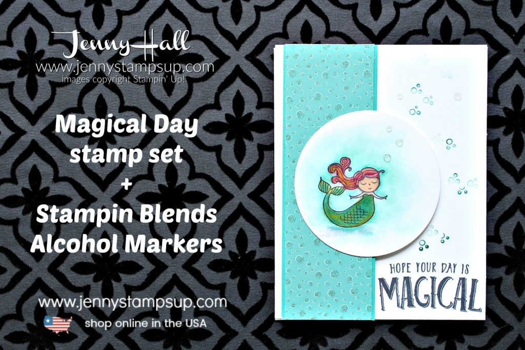 Magical Day mermaid card created by Jenny Hall at www.jennyhalldesign.com for #mermaid #mermaidhair #mermaidstamp #osatbh #osatbloghop #marchosatbloghop #magicalday #stampinup #stamping #cardmaking #cardmaker #stampinblends #videotutorial #youtuber #processvideo #magical #jennyhall #jennyhalldesign #jennyhallstampinup #jennystampsup #watercolor #crafts #lifestyle #creativelife #diy