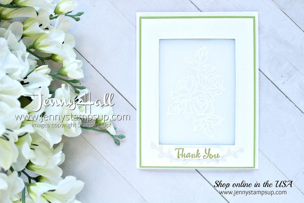 Go For Greece Blog Hop card featuring Petal Palette bundle created by Jenny Hall at www.jennyhalldesign.com for #cardmaking #stamping #stampinup #vellum #greenandwhitedesign #cascards #cleanandsimplecards #jennyhall #jennyhalldesign #jennyhallstampinup #jennystampsup #bloghop #videotutorial #youtuber #crafts #papercrafts #lifestyle