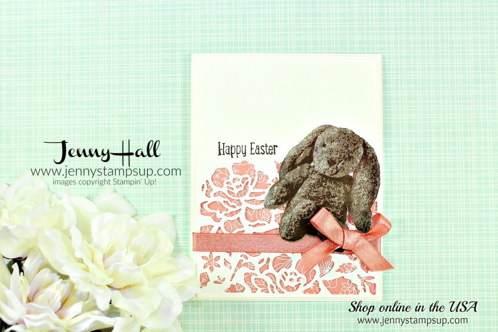 March Ink & Inspiration Blog Hop card featuring Sweet Little Something bunny card created by Jenny Hall at www.jennyhalldesign.com for #cardmaking #sweetlittlesomething #bunnystamp #layeringstampset #threestepstamp #eastercard #jennyhall #jennyhalldesign #jennyhallstampinup #jennystampsup #papercrafts #diy #crafts #detailedfloralthinlits #shimmeryribbon #2018saleabration #chocolatebunny #iibh #inkandinspirationbloghop