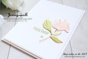 March Stampin Friends Blog Hop card featuring Springtime Foils DSP created by Jenny Hall at www.jennyhalldesign.com #cardmaking #cardmaker #creativelife #stamping #stampinup #markers #stampinblends #springtimefoils #cascards #cleanandsimplecards #whitespace #spring #coloring #youtuber #craftyyoutuber #videotutorial #jennyhall #jennystampsup #jennyhalldesign #papercrafting