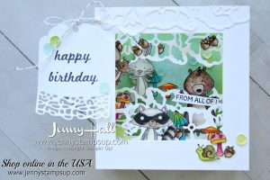 We Must Celebrate shadow box card created by Jenny Hall at www.jennyhalldesign.com for #cardmaking #fancyfolds #cascards #addinktivedesignteam #stamping #stampinup #cardmaker #youtuber #jennyhall #jennyhalldesign #jennyhallstampinup #jennystampsup #shadowbox #diy #crafts #sweetcakeframelits #detailedfloralthinlits #raccoonstamp #squirrelstamp #rabbitstamp #wemustcelebrate #watercolor #designteam