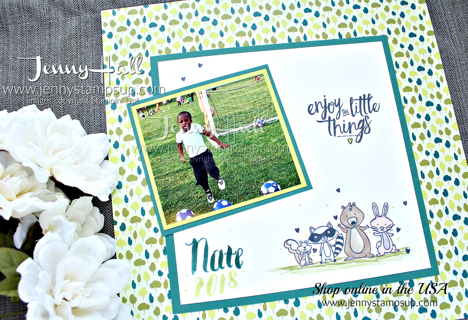 The Cheering Section layout created by Jenny Hall at www.jennyhalldesign.com #scrapbooking #cardmaking #stamping #stampinup #tranquiltide #myths&magic #wemustcelebrate #stampinblends #soccertheme #jennyhall #jennyhalldesign #jennystampsup #crafts #papercrafting #lifestyle #youtuber #craftyyoutube #processvideo #videotutorial