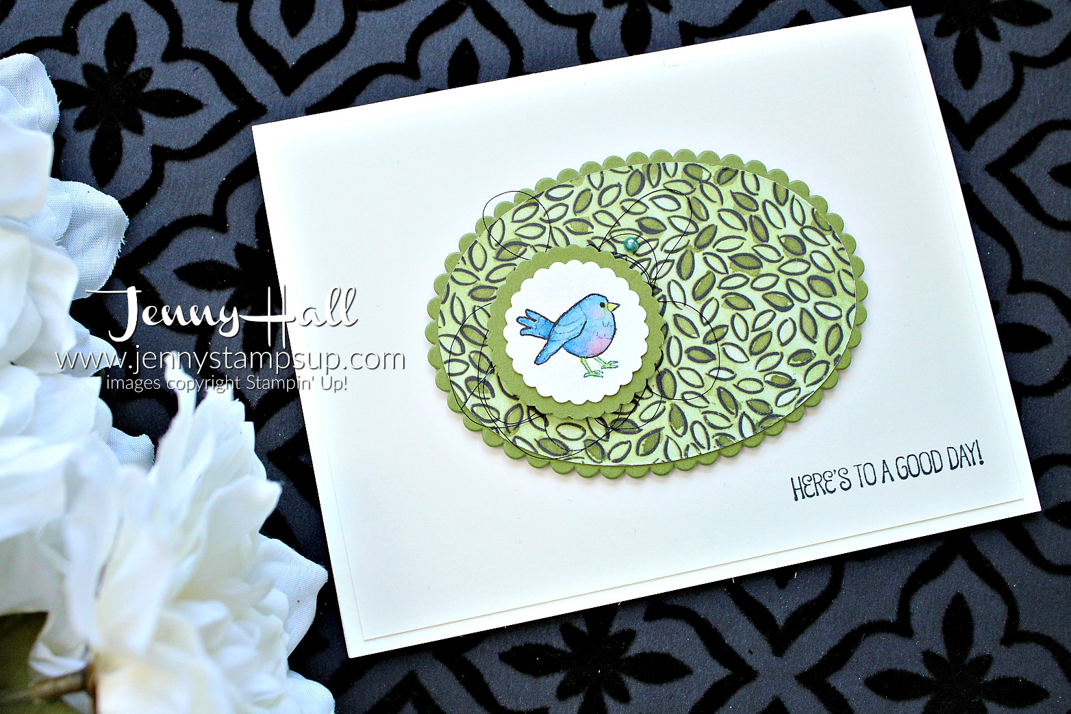 April Go For Greece blog hop card created by Jenny Hall at www.jennyhalldesign.com for #cardmaking #stamping #stampinup #agoodday #sharewhatyoulove #bluebird #bluebirdofhappiness #jennyhall #jennyhalldesign #jennystampsup #bloghop #goforgreece #gfgbh #papercrafting #crafts #nature