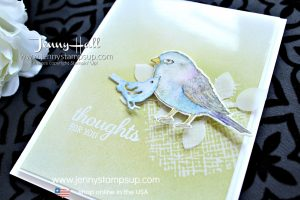 April Creating Kindness Blog Hop card created by Jenny Hall at www.jennyhalldesign.com for #cardmaking #stamping #stampinup #bestbirds #ombre #brayer #videotutorial #youtuber #craftyyoutuber #videohop #cascards #vellum #jennyhall #jennyhalldesign #jennyhallstampinup #papercrafting #lifestyle #birds #crafts