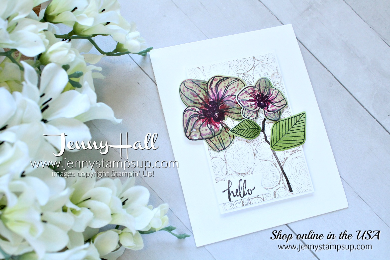 April Ink & Inspiration Blog Hop card created by Jenny Hall at www.jennyhalldesign.com for #cardmaking #climbingorchid #orchidstamp #stampinup #jennyhall #jennyhalldesign #jennystampsup #videotutorial #youtuber #stamping #orchidcard #cascards #cleanandsimplecards #stamparatus