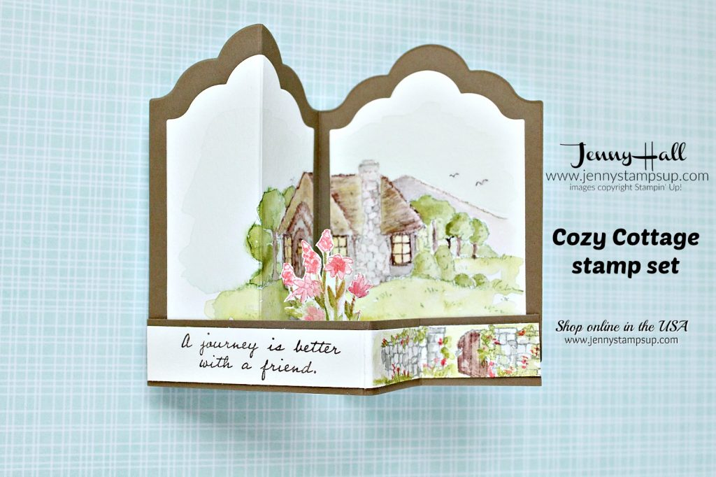Cozy Cottage Double Z Fold box card created by Jenny Hall for AddINKtive Designs at www.jennyhalldesign.com for #cardmaking #stamping #stampinup #jennyhall #jennyhalldesign #jennystampsup #jennyhallstampinup #watercolorpainting #crafts #cozycottage #doublezfoldcard #friendship #rubberstamp #fancyfoldcard #youtuber