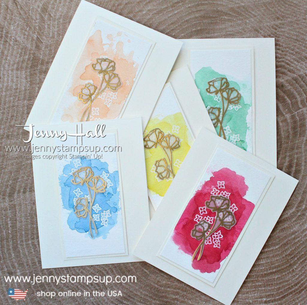 2018 In Color cards created by Jenny Hall at www.jennyhalldesign.com for #cardmaking #stamping #stampinup #2018incolors #watercolorpainting #jennyhall #jennyhalldesign #jennystampsup #crafts #lovewhatyoudo #sharewhatyoulove kidfriendlycraft #christiancraft #embossonvellum #watercolorwash #videotutorial #youtuber #craftyyoutube #blueberrybushel