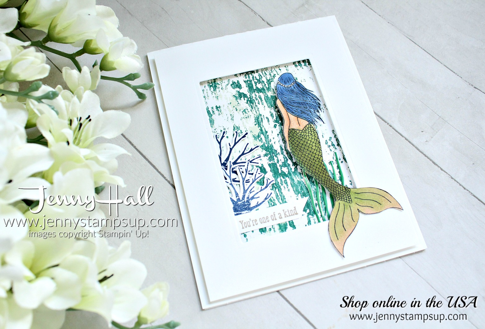 Sea of Textures Bundle with Magical Mermaid stamp set created by Jenny Hall at www.jennyhalldesign.com for #cardmaking #stamping #diy #handmade #stampinblends #seaoftextures #mermaid #jennyhall #jennyhalldesign #jennystampsup #youtuber #papercrafts #crafts #bluehair #stampinup