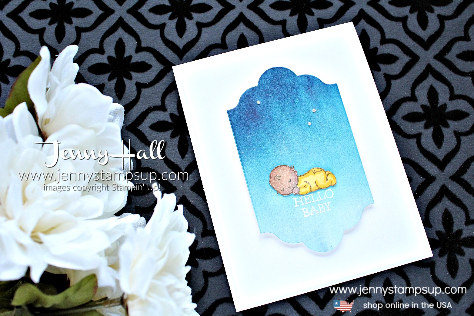 Creating an Ombre Watercolor Wash card by Jenny Hall at www.jennyhalldesign.com for #cardmaking #ombre #watercolorwash #moonbabystampset #stamping #stampinup #babystamp #jennyhall #jennyhalldesign #jennystampsup #lotsoflabelsframelits #handmadecard #lifestyle #watercolorpainting #crafts #paperembossing #videotutorial #youtuber #craftyyoutuber