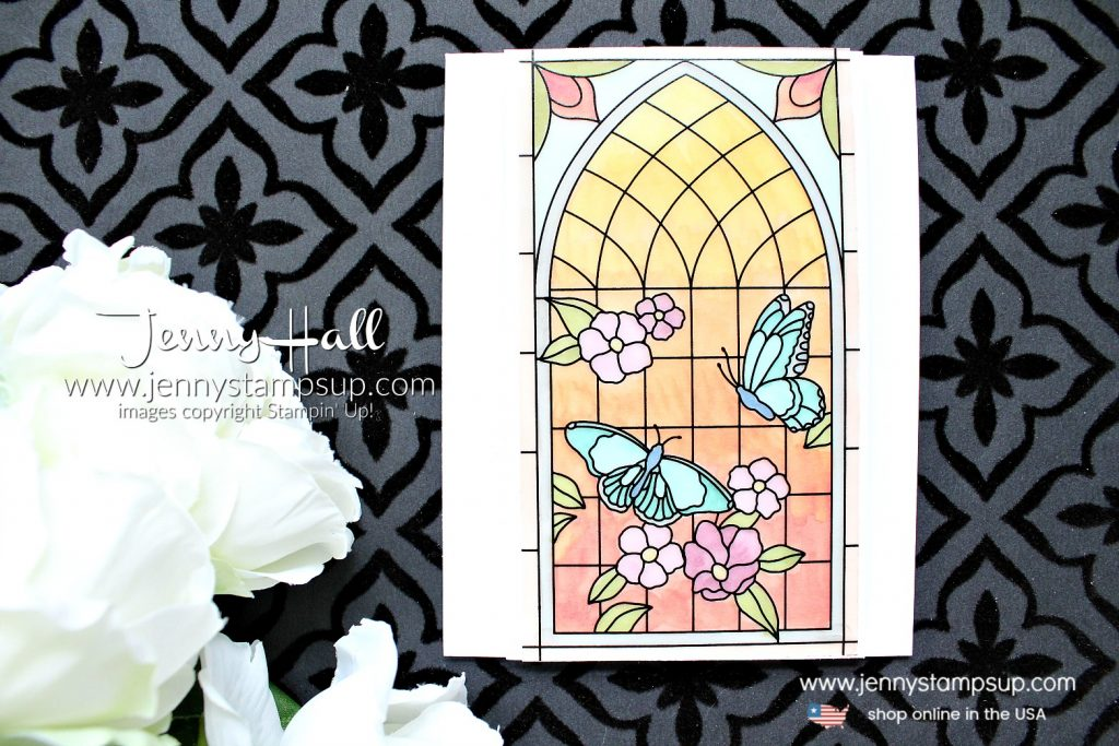 Painted Glass sunrise card created by Jenny Hall at www.jennyhalldesign.com for #cardmaking #paintedglass #stamping #papercrafting #videotutorial #stainedglass #christiancraft #kidfriendlycraft #stampinup #jennyhall #jennyhalldesign #jennystampsup #jennyhallstampinup #butterfly #lifestyle #creativelife #newproduct #youtuber