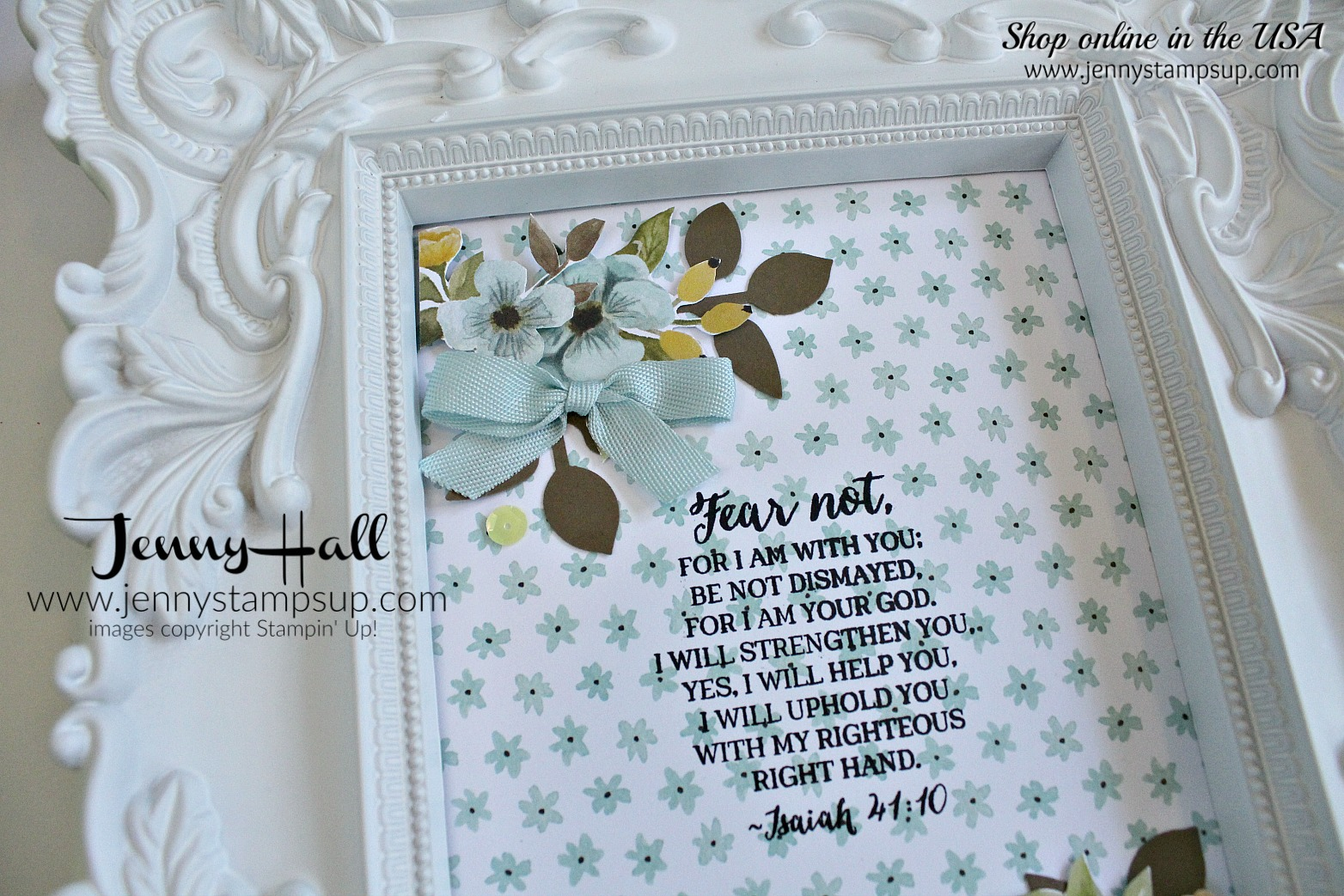 April Stampin Friends blog hop card created by Jenny Hall at www.jennyhalldesign.com for #cardmaing #homedecor #decoratedframe #rosewonder #wholelotoflovely #bibleverse #stamping #stampinup #jennyhall #jennystampsup #jennyhalldesign #crafts #lifestyle