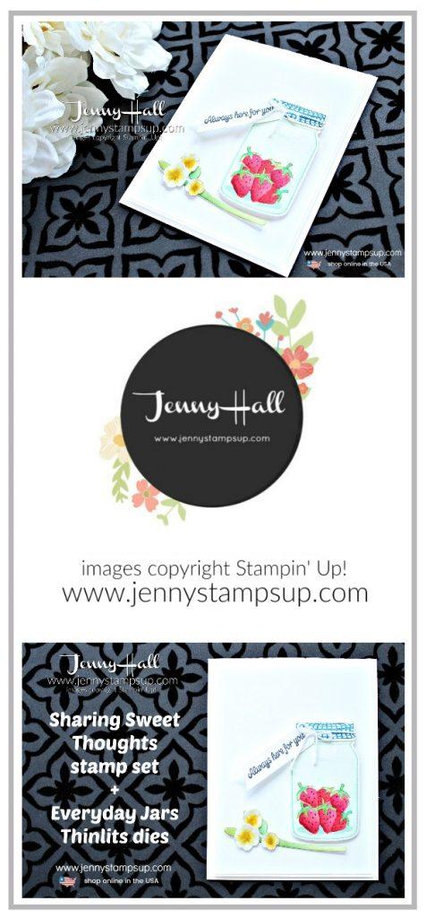Watercolor with Depth card created y Jenny Hall of #jennyhalldesign at www.jennyhalldesign.com for #cardmaking #stamping #watercoloring #watercolorpainting #everydayjarsthinlits #sharingsweetthoughts #cardmaking #stampinup #strawberries #painting #crafts #lifestyle #trendy #jennyhall #jennystampsup #videotutorial #craftyyoutube #youtuber