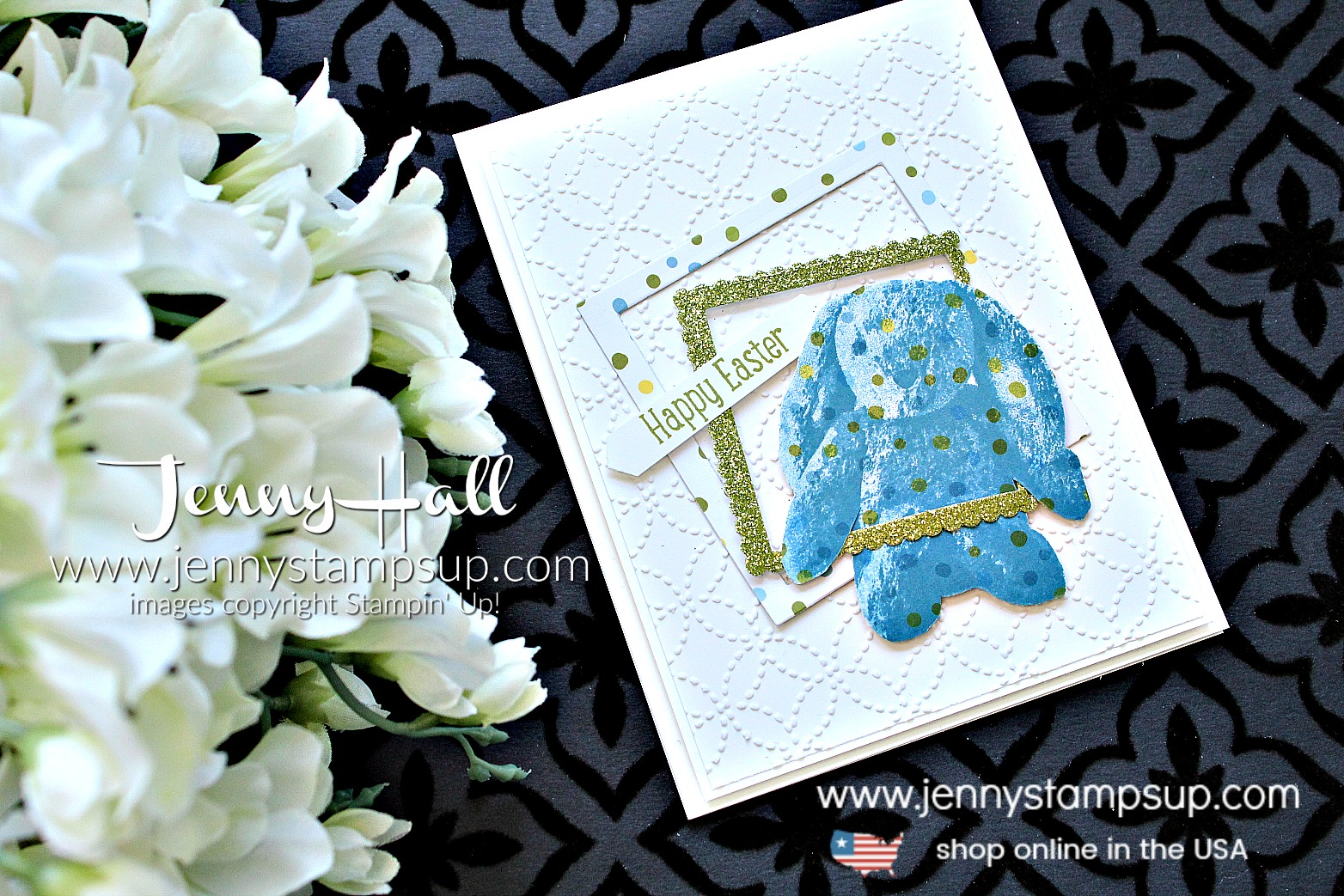 Sweet Little Something blue bunny card created by Jenny Hall at www.jennyhalldesign.com for #cardmaking #layeringsquares #layeringstamp #sweetlittlesomething #jennyhall #jennyhalldesign #jennystampsup #stampinup #stamping #eastercard