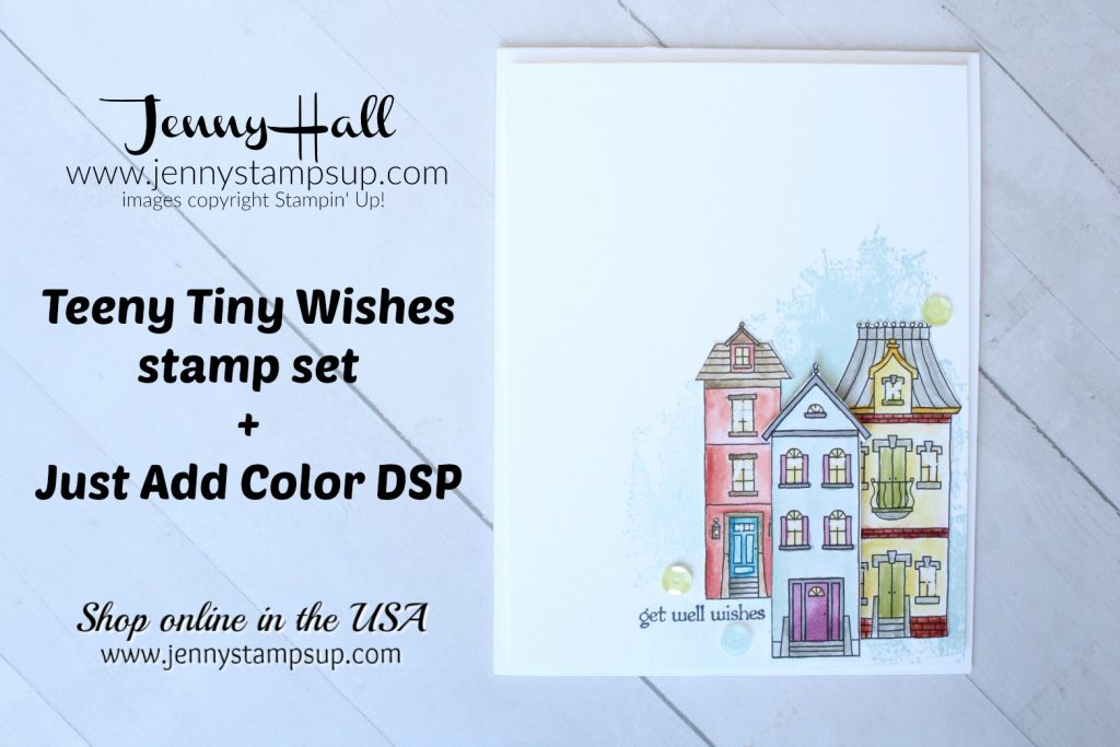 April Stampin Dreams blog hop card created by Jenny Hall at www.jennyhalldesign.com for #cardmaking #SDBH #justaddcolordsp #teenytinywishes #getwellcard #jennyhall #jennyhalldesign #jennystampsup #stamping #stampinup #youtuber #rubberstamp #crafts #watercolorpainting