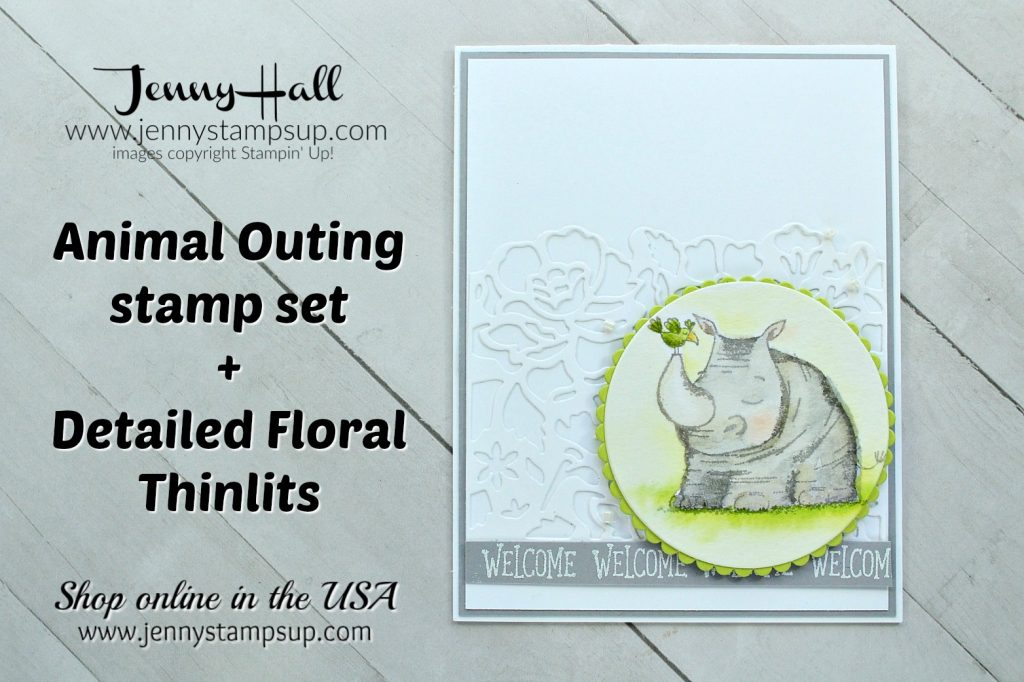 May Stampin Dreams Blog Hop card created by Jenny Hall at www.jennyhalldesign.com for #cardmaking #jennyhall #jennyhalldesigns #stampinup #stamping #youtuber #videotutorial #watercolorpainting #paperembossing #animalouting #crafts #craftsforkids