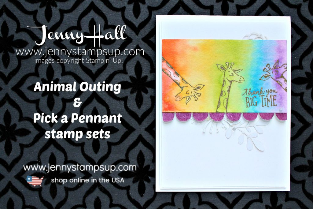 Animal Outing rainbow watercolor card with Video created by Jenny Hall at www.jennyhalldesign.com for #cardmaking #stamping #watercolorpainting #watercolor #rainbow #paintarainbow #giraffe #animalouting #jennyhall #jennyhalldesigns #jennystampsup #stampinup #youtuber #videotutorial #facebooklivereplay #crafts #diy #lifestyle