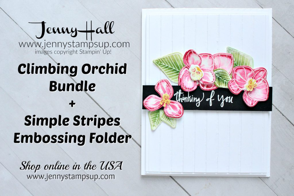 Climbing Orchid card created by Jenny Hall at www.jennyhalldesign.com for #climbingorchid #orchid #watercolorpainting #simplestripesembossingfolder #paperembossing #whatwillyoustampchallenge #wwyschallenge #stampinup #stamping #jennyhall #jennyhalldesign #jennystampsup #floral #craftsforkids #crafts #diy #cardmaking