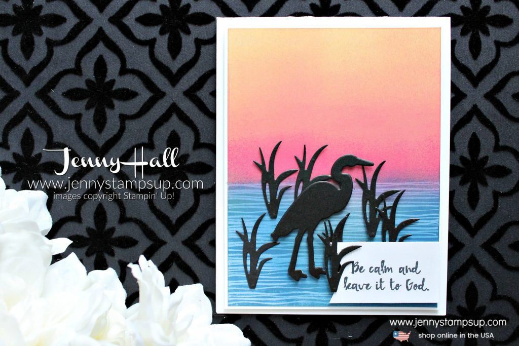 Lilypad Lake Silhouette card created by Jenny Hall at www.jennyhalldesign.com for #cardmaking #stamping #papercrafts #ombre #sunset #greetingcard #handmadecard #diy #craftsforkids #christiancraft #jennyhall #jennyhalldesign #jennystampsup #stampinup #lifestyle #videotutorial #crafts #paperembossing #youtuber