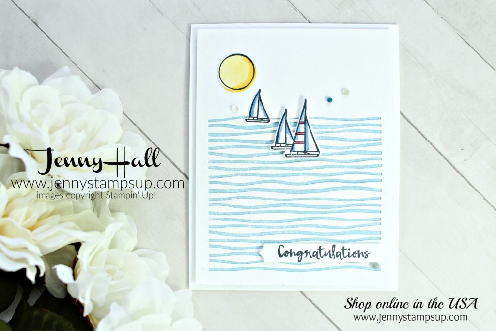Lilypad Lake CAS card created by Jenny Hall at www.jennyhalldesign.com for #cardmaking #stamping #cascards #cleanandsimple #lilypadlakebundle #lakesideframelits #jennyhall #jennyhalldesign #jennystampsup #sailboat #sailing #masculinecard #tranquiltexturesdsp #videotutorial #unboxing #youtuber #papercrafts #craftsforkids #simplyshammy