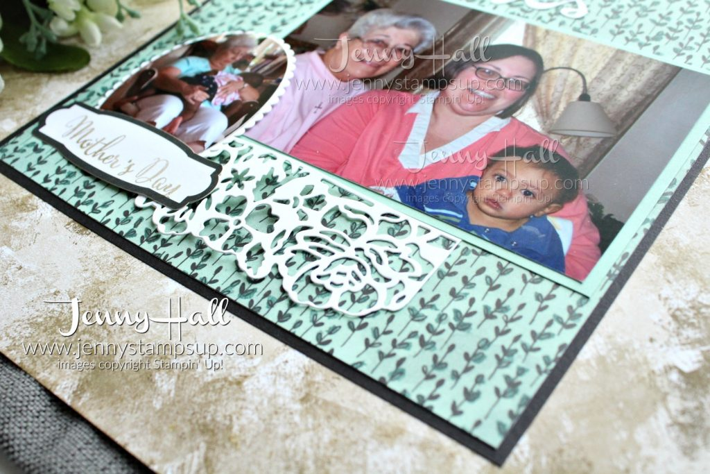 Mother's Day scrapbook page created by Jenny Hall at www.jennyhalldesign.com for #scrapbooking #stamping #stampinup #jennyhalldesign #jennyhall #videotutorial #video #youtuber #makeadifference #sharewhatyoulove #papercrafts #paperembossing #crafts #diy #craftsforkids