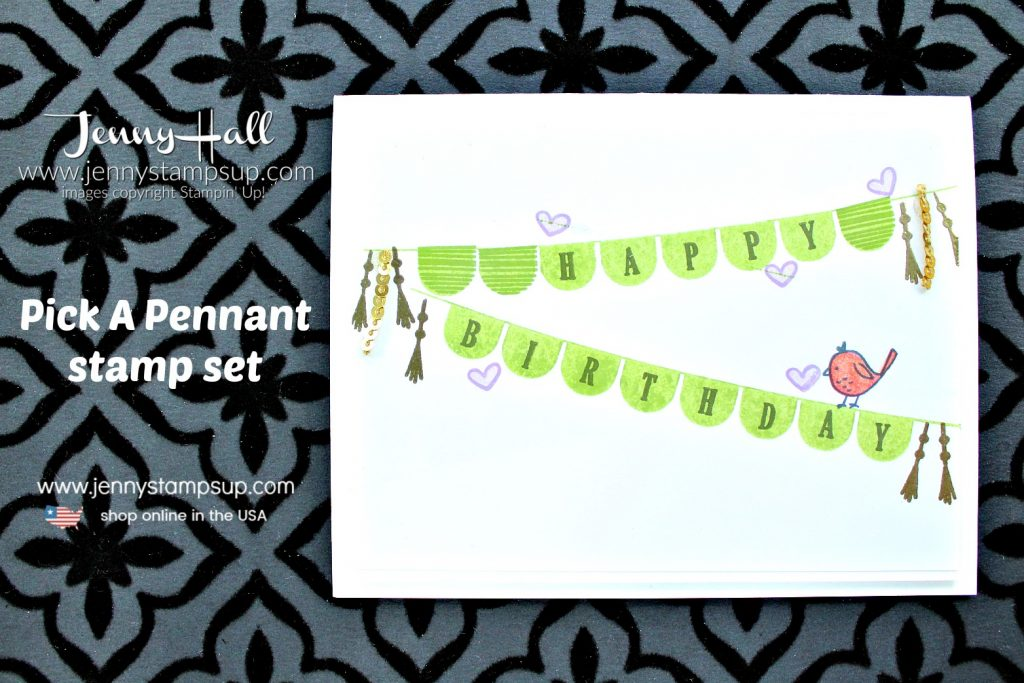 Kelly Kent's Birthday Blog Hop card featuring Pick a Pennant birthday card created by Jenny Hall at www.jennyhalldesign.com for #cardmaking #blog hop #stampinup #jennyhall #jennyhalldesigns #pickapennantstampset #videotutorial
