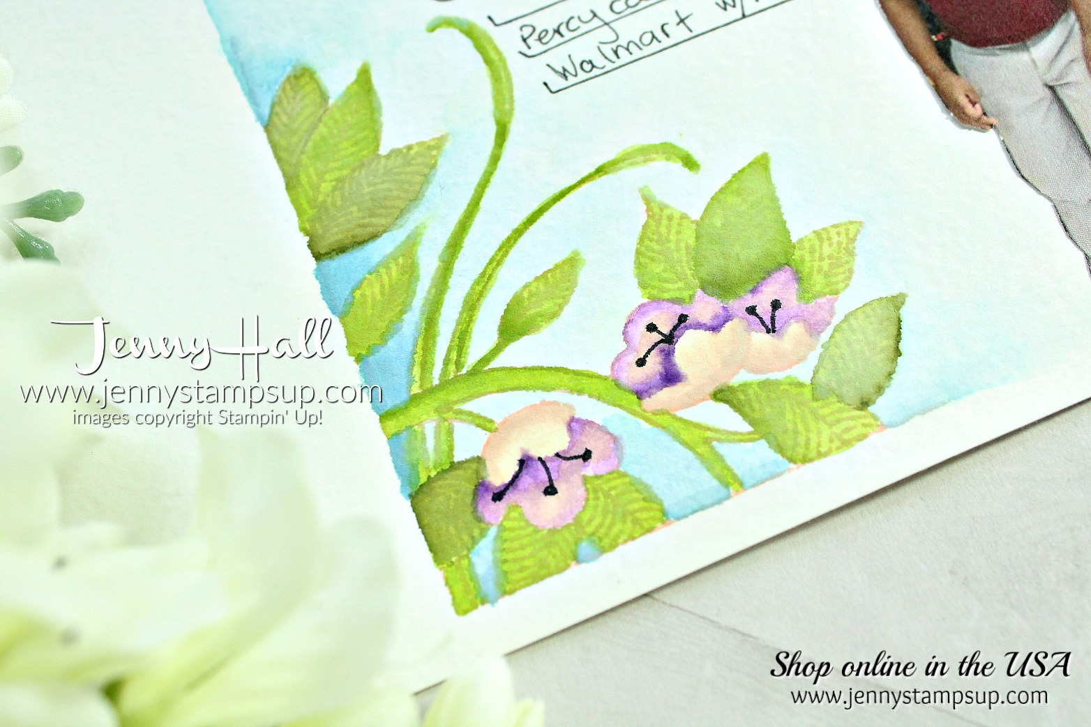 May Scrapbook Sunday Blog Hop page created by Jenny Hall at www.jennyhalldesign.com for #scrapbooking #serenegarden #watercolor #jennyhall #jenyhalldesign #jennystapsup #stamping #stampinup
