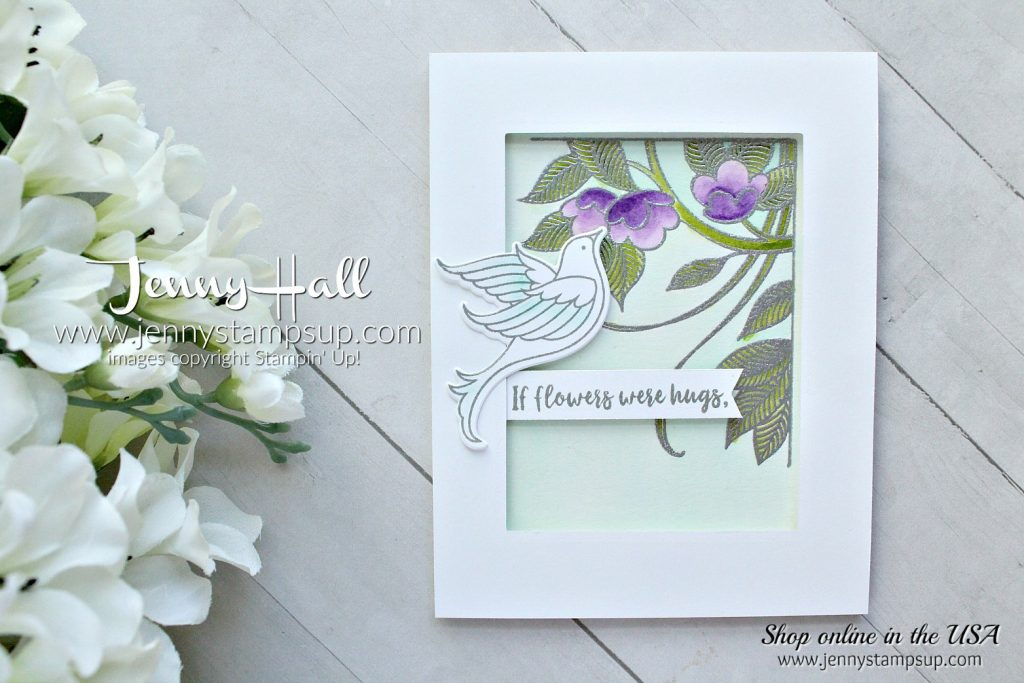 Serene Garden watercolor card created by Jenny Hall at www.jennyhalldesign.com for #cardmaking #designteam #serenegarden #watercolor #gorgeousgrape #dove #stampinkpaperchallenge #jennyhall #jennyhallstampinup #jennystampsup #jennyhalldesign #stampinup #stamping #papercrafting #crafts #craftsforkids