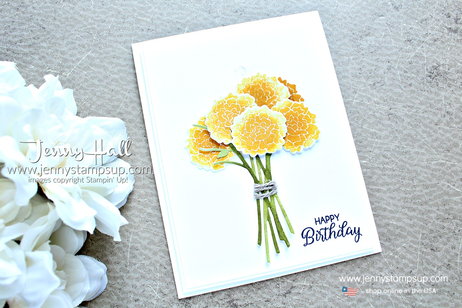 June Stampin Dreams Blog Hop card created by Jenny Hall at www.jennyhalldesign.com for #cardmaking #scrapbooking #watercolorpainting #crafts #diy #papercrafts #stampinup #stamparatus #coloring #hobby #maker #create #videotutorial #beautifulbouquet #bouquetbuilderframelits #jennyhall #jennyhalldesign #jennystampsup #cascard #cleanandsimplecard