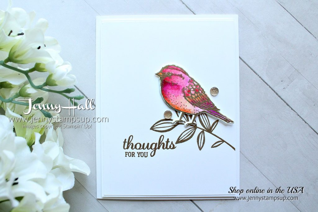 watercolor bird card created by Jenny Hall at www.jennyhalldesign.com for #cardmaking #cardmaker #stamping #stampinup #jennyhall #jennyhalldesign #jennystampsup #globaldesignproject #colorchallenge