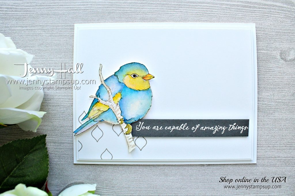 Better With You card created by Jenny Hall at www.jennyhalldesign.com for #cardmaking #cardmaker #watercolorpainting #birdstamp #birdart #jennyhall #jennyhalldesign #stampinup #stamping #rubberstamp #handmadecard #crafts #diy #papercrafts #lifestyle #handpainted
