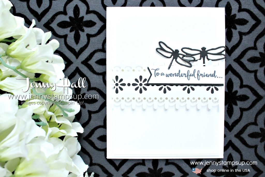 Simple black & white design card created by Jenny Hall at www.jennyhalldesign.com for #dragonflydreams #delightfullydetailed #jennyhall #jennyhalldesign #jennystampsup #stampinup #stamping #maker #cardmaker #cardmaking #lace #youtuber #videotutorial #papercraft #crafts #diy