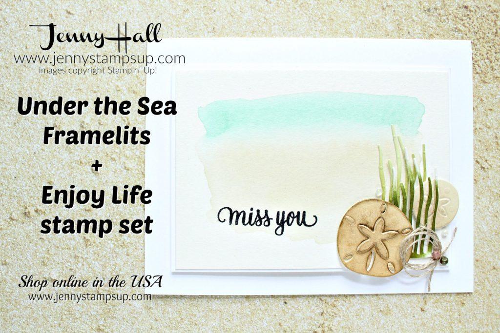 Watercolor beach scene card created by Jenny Hall at www.jennyhalldesign.com for #watercolor #watercolorpainting #beachscene #undertheseaframelits #enjoylifestampset #stamping #stampinup #rubberstamp #cascard #cleanandsimplecard #jennyhall #jennyhalldesign #jennystampsup #sanddollar #coastalcabana #saharasand #lifestyle #crafts #diy