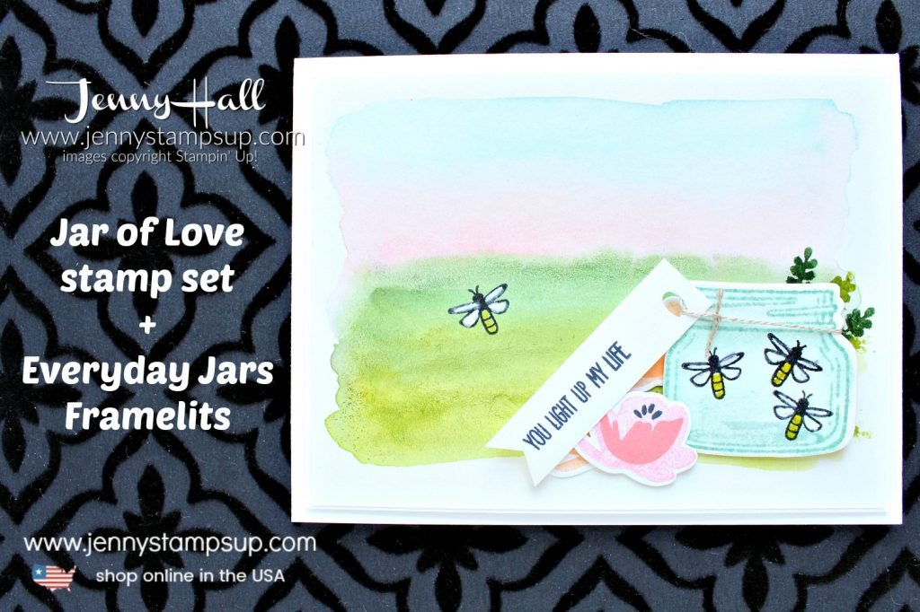 Watercolor wash landscape card created by Jenny Hall at www.jennyhalldesign.com doe #cardmaking #handmadecard #stamping #watercolorpainting #jaroflove #everydayjarsthinlits #watercolorwash #fireflies #masonjar #jennyhalldesign #jennyhall #jennystampsup #lifestyle #crafts #craftsforkids #papercrafting