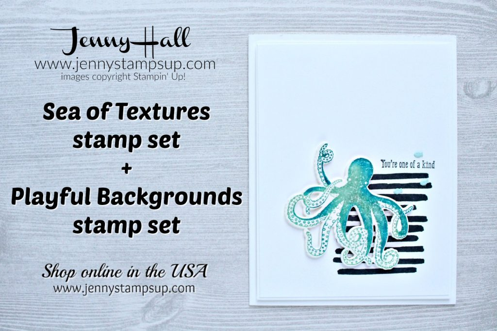 How to add shadows with the Stamparatus card created by Jenny Hall at www.jennyhalldesign.com for #cardmaking #stamparatus #seaoftextures #playfulbackgrounds #octopusstamp #ombre #texture #cascard #cleanandsimplecard #poolparty #pacificpoint #jennyhall #jennyhalldesign #jennystampsup #stamping #stampinup #colorthrowdown #ombre #shadowsofcolor #design #crafts #diy