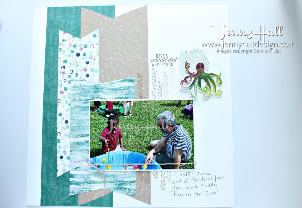 DSP as a focal point #scrapbookpage by Jenny Hall at www.jennyhalldesign.com for #scrapbooking #layout #design #jennyhall #jennyhalldesign #jennystampsup #seaoftextures #tranquiltextures #stamping #stampinup #stamparatus #ombrestamping #octopusstamp #familytime #cardmaking #cardmaker #scrapbooker #lifestyle #diy #crafts