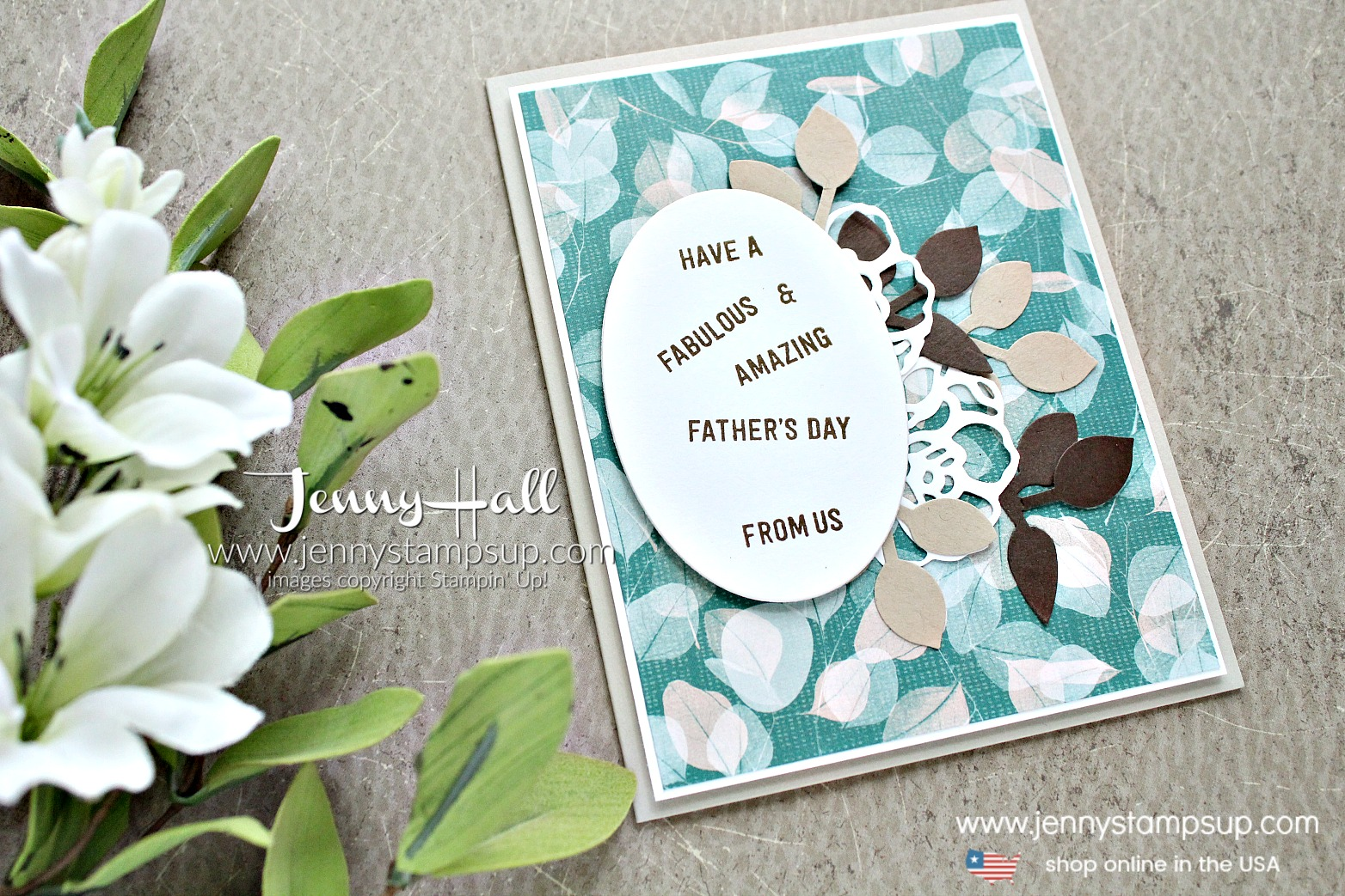 Father's Day card from us created by Jenny Hall at www.jennyhalldesign.com for #fathersdaycard #masculinecard #cardfromus #jennyhall #jennyhalldesign #jennystampsup #naturespoemdsp #stamping #suochallenge