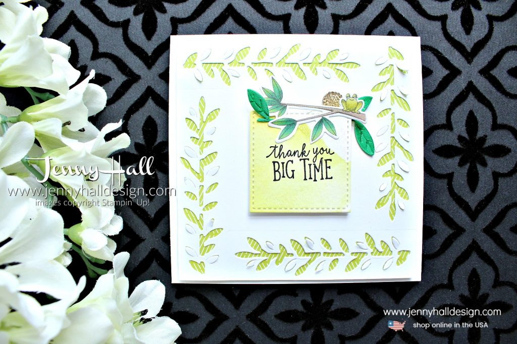 Animal Outing thank you card created by Jenny Hall at www.jennyhalldesign.com for #cardmaking #handmadecard #cardmaker #stamping #rubberstamp #stampinup #stampinupdemonstrator #stitched shapes #watercoloring #animal outing #animalexpeditiondsp #frog #squarecard #jennyhall #jennyhalldesign #jennystampsup #whatwillyoustampchallenge #wwyschallenge #designteam