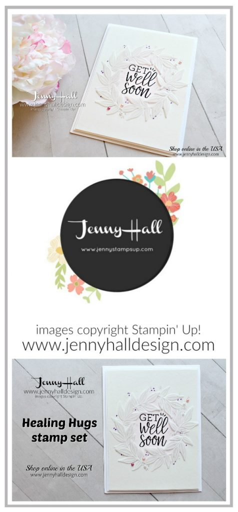 Healing Hugs wreath card created by Jenny Hall at www.jennyhalldesign.com for #cardmaking #cardmaker #handmadecard #crafts #crafting #craftsforkids #jennyhall #jennyhalldesign #jennystampsup #jennyhallstampinup #healinghugs #embossonvellum #cascard #cleanandsimplecard #wreathdesign #handicraft #lifestyle #papercraft #paperembossing #joinmyteam #stampinupdemonstrator