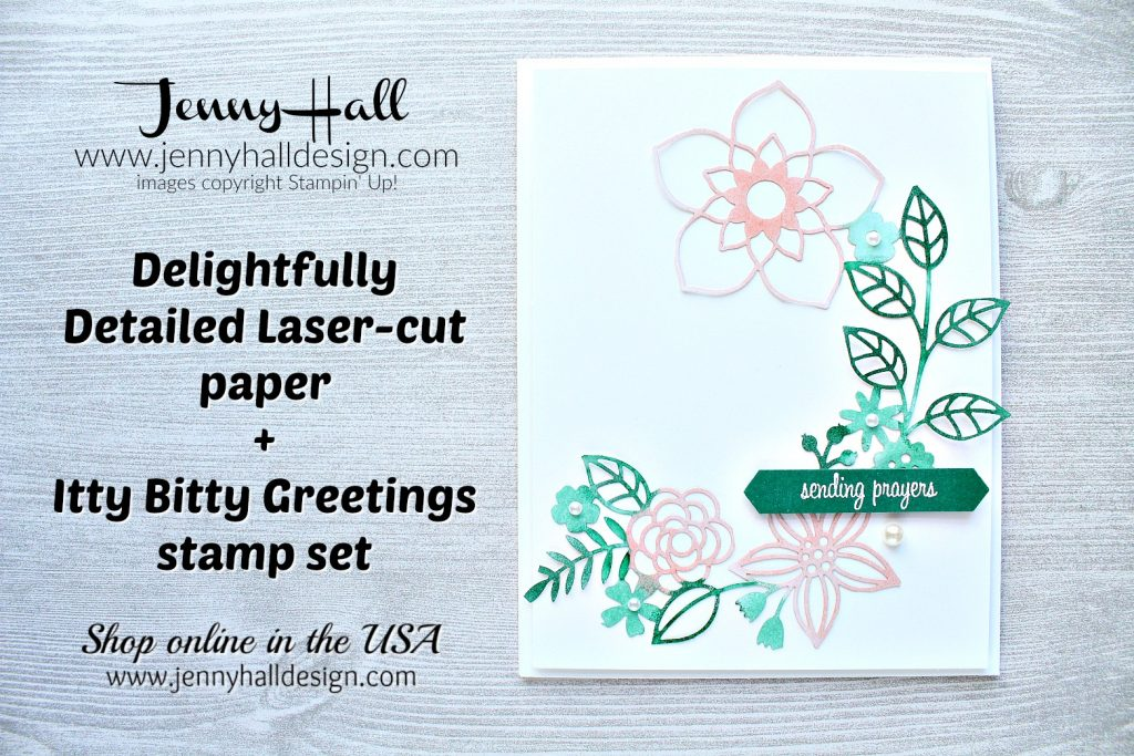 Guest Designer for Inspire.Create Challenge card created by Jenny Hall at www.jennyhalldesign.com for #cardmaking #cardmaker #stampinup #stamping #coastalcabana #christiancard #sendingprayers #handmadecard #jennyhall #jennyhalldesign #jennystampsup #videotutorial #youtuber #inspirecreatechallenge #delightfullydetailedlasercutpaper #colorchallenge #ittybittygretings