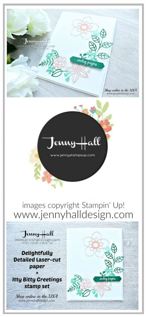 Guest Designer for Inspire.Create Challenge card created by Jenny Hall at www.jennyhalldesign.com for #cardmaking #cardmaker #stampinup #stamping #coastalcabana #christiancard #sendingprayers #handmadecard #jennyhall #jennyhalldesign #jennystampsup #videotutorial #youtuber #inspirecreatechallenge #delightfullydetailedlasercutpaper #colorchallenge #ittybittygretings