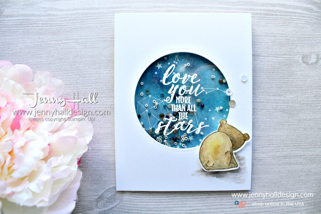 July OSAT blog hop card created by Jenny Hall at www.jennyhalldesign.com for #cardmaking #cardmaker #stamping #stampinup #handmadecard #diy #crafts #craftsforkids #christiandiy #watercolorpainting #galaxywatercolor #shakercard #osatbloghop #papercrafts #youtuber #cardmakingvideo