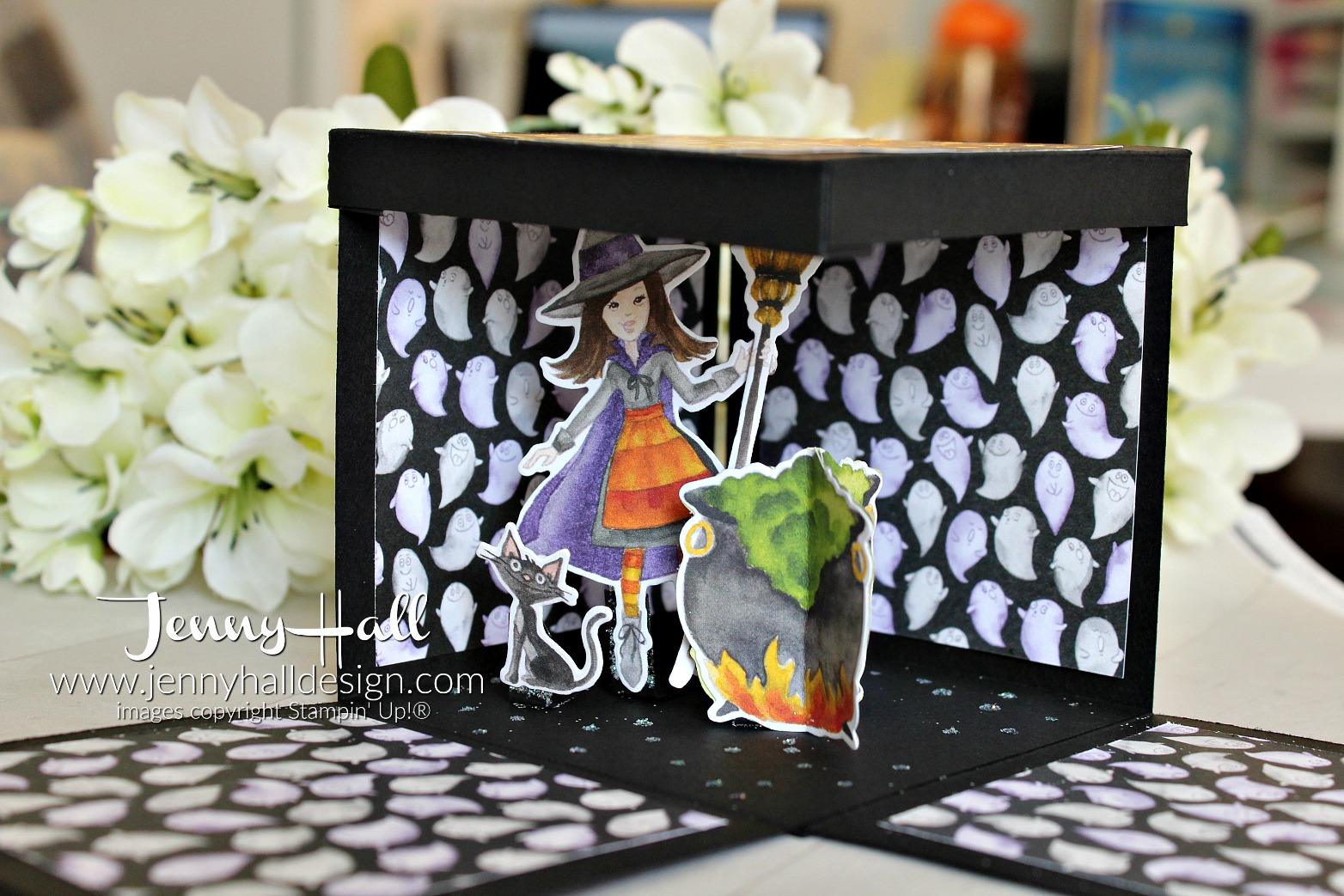 August Be Inspired Blog Hop Halloween explosion box card created by Jenny Hall at www.jennyhalldesign.com for #cardmaking #explosionboxcard #stamping #stampinup #jennyhall #jennyhalldesign #jennystampsup #toilandtroubledsp #cauldronbubblebundle #halloweendiy #halloweencraft #halloweenkeepsake #artsandcrafts #teachergift #kidfriendly