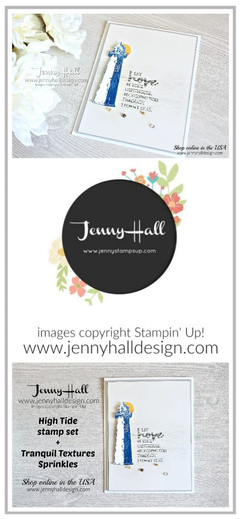 High Tide distressed card by Jenny Hall at www.jennyhalldesign.com for #cardmaker #cardmaking #hightidestamp #lighthousestamp #stamping #stampinup #jennyhall #jennyhalldesign #jennystampsup #glossywhitepaper #distressed #papercraft #artsandcrafts #handmadecard #christiancraft #maker