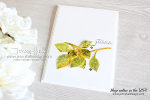 Watercolored Die Cuts card created by Jenny Hall at www.jennyhalldesign.com for #watercolor #watercoloreddiecuts #detailedleavesthinlits #ittybittygreetings #videotutorial #cardmakingvideo #youtuber #craftyyoutube #papercraft #handmadecard #cardmaking #jennyhalldesign #jennyhall #jennystampsup #stamping #stampinup #cascards #cleanandsimplecard #falldecor #diy #artsandcrafts #christiancraft
