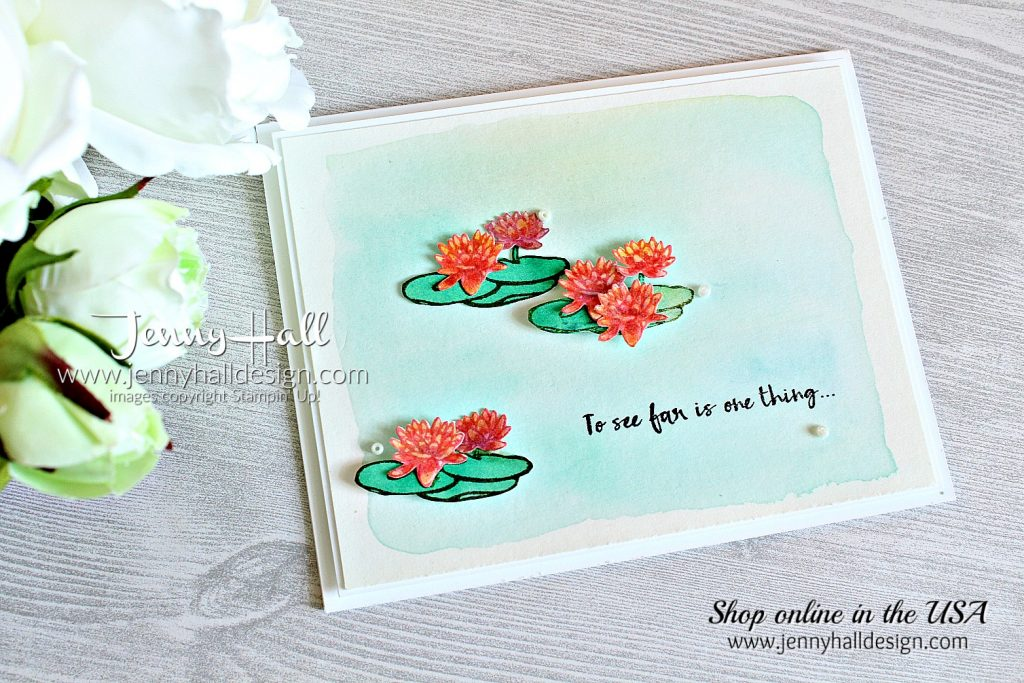 Lilypad Lake watercolor card created by Jenny Hall at www.jennyhalldesign.com for #cardmaking #cardmaker #jennyhall #jennyhalldesign #jennystampsup #handmadecard #watercolor #lilypadlake #lakesideframelits #wwys #whatwillyoustampchallenge #crafts #artsandcrafts #hobbies #diy #maker #create #lilypad #peaceful #makeacardsendacard #stampinup #stamping #rubberstamp