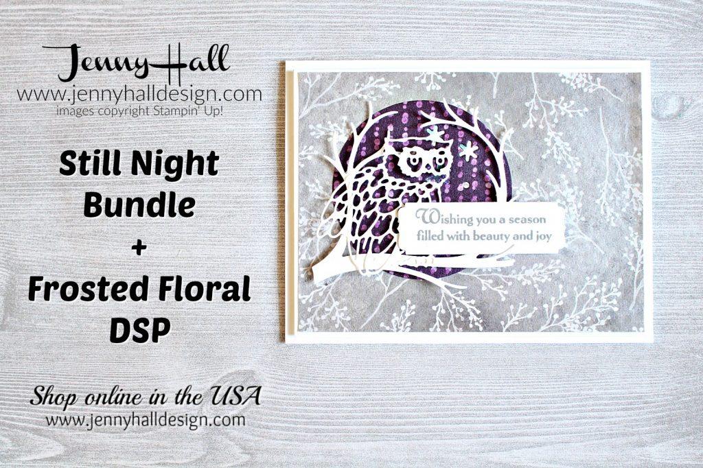 August Stampin Dreams Blog Hop card created by Jenny Hall at www.jennyhalldesign.com for #stillnight #owlstamp #stillnightbundle #2018holidaycatalog #jennyhall #jennyhalldesign #cardmaking #stampinup #stamping